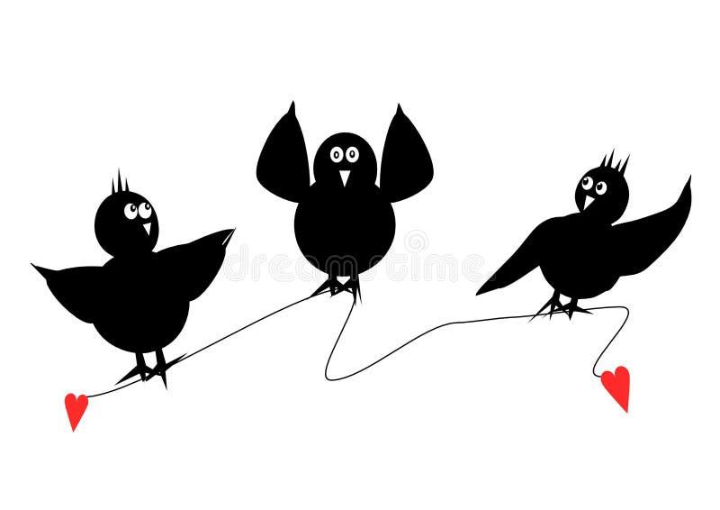 Três pássaros pretos ilustração royalty free