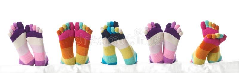 Três pés nas meias imagem de stock