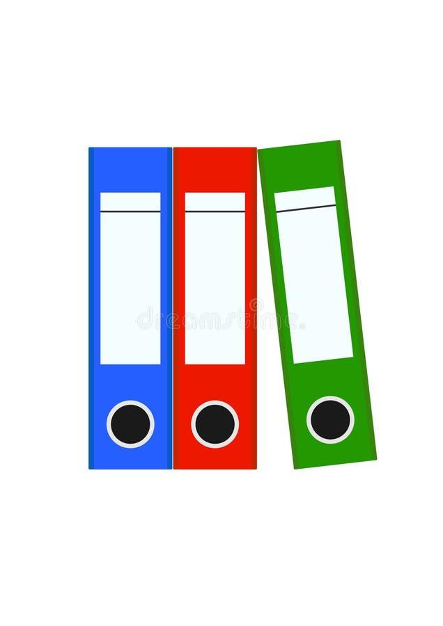 Três pastas de arquivos coloridas da pasta de anel ilustração royalty free