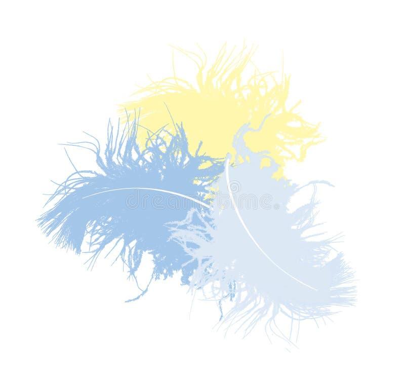Três penas de pássaro macias coloridos, isoladas no fundo branco ilustração do vetor