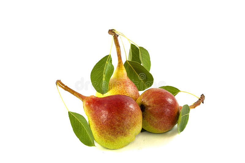 Três peras frescas imagens de stock
