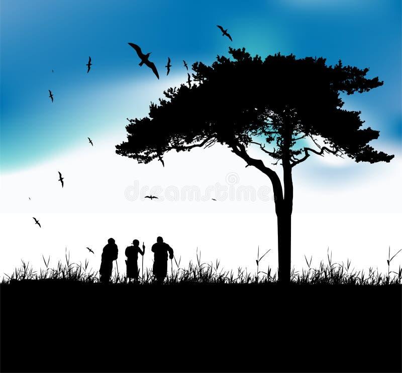Três pessoas adultas andam na natureza ilustração royalty free