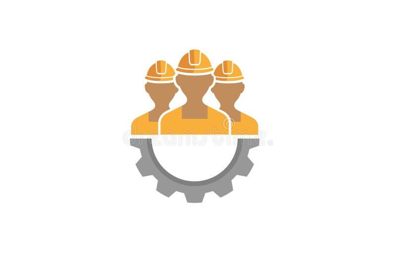 Três pessoas criativas de Team Gear Logo Design Illustration ilustração do vetor