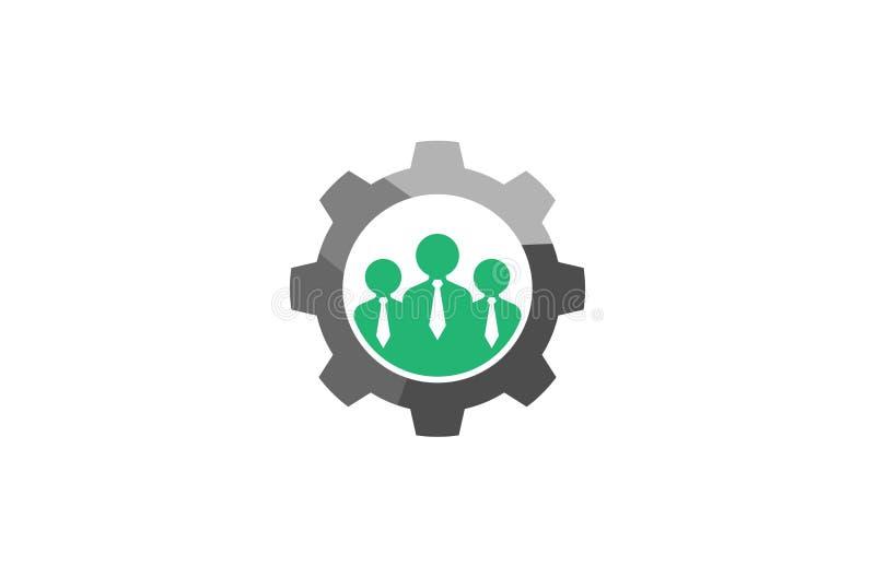 Três pessoas criativas de Team Gear Logo Design Illustration ilustração stock