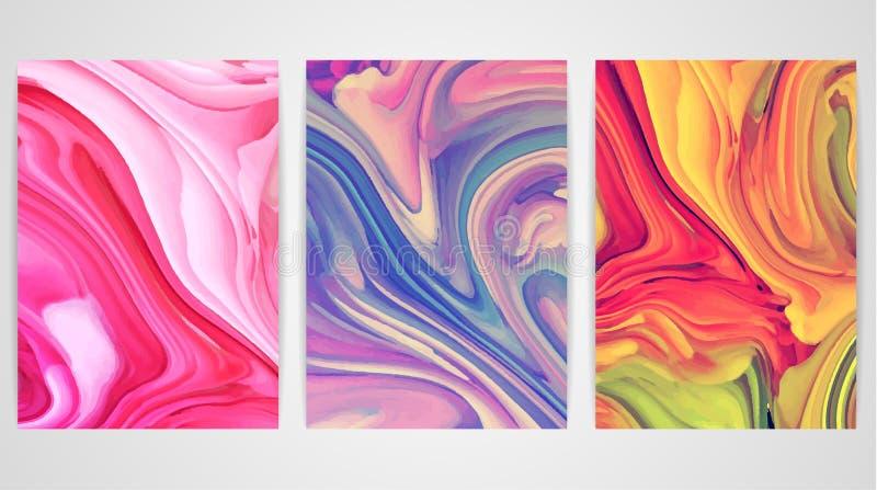 Três pinturas com marmorear Textura de mármore Pinte o respingo Líquido colorido ilustração royalty free