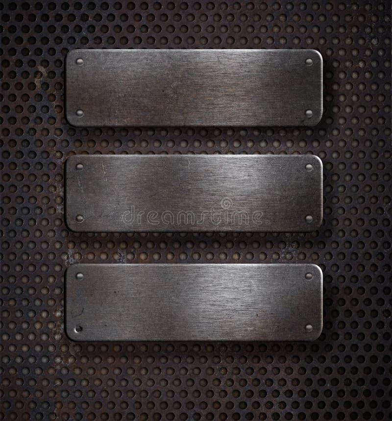 Três placas de metal oxidadas do grunge sobre a grade imagens de stock