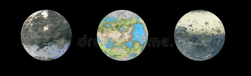Três planetas estrangeiros isolados ilustração royalty free