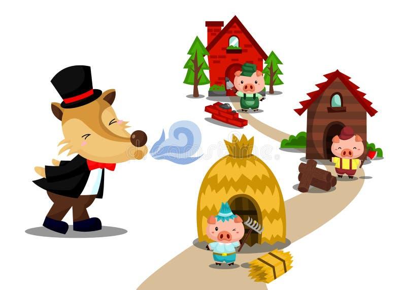 Três porcos pequenos ilustração stock