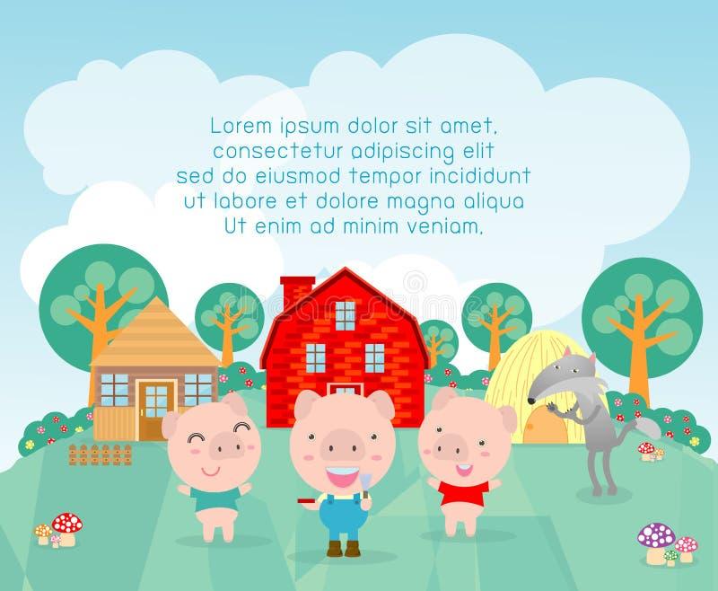Três porcos pequenos fundo, ilustração do vetor ilustração do vetor