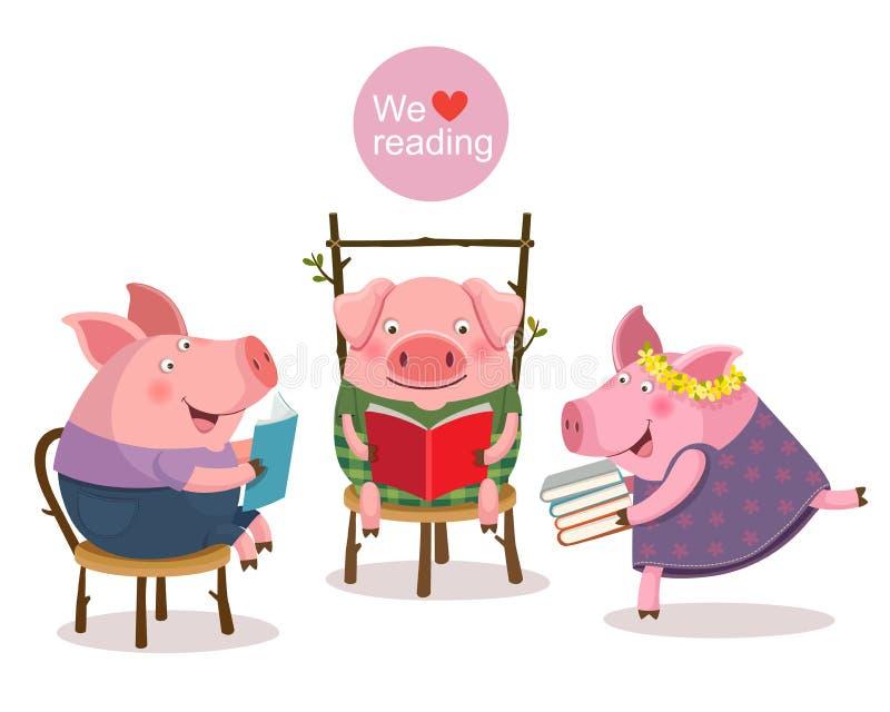 Três porcos pequenos que leem um livro ilustração royalty free