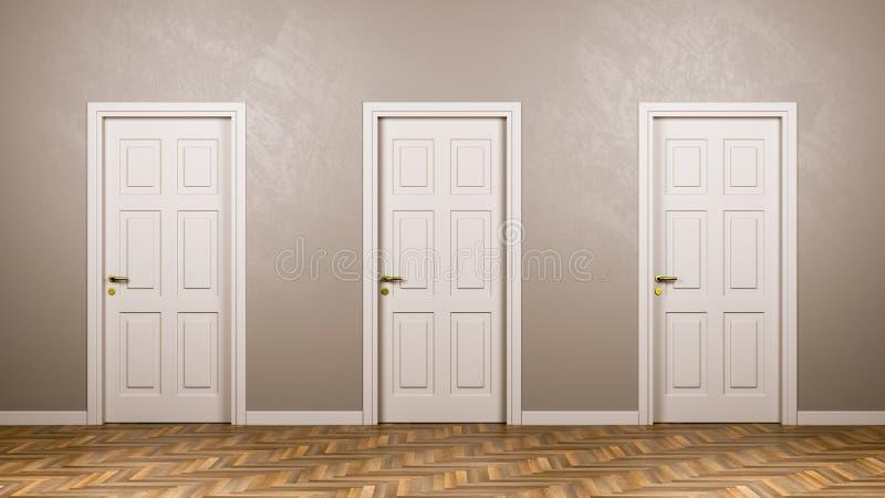 Três portas brancas fechados na parte dianteira na sala ilustração royalty free