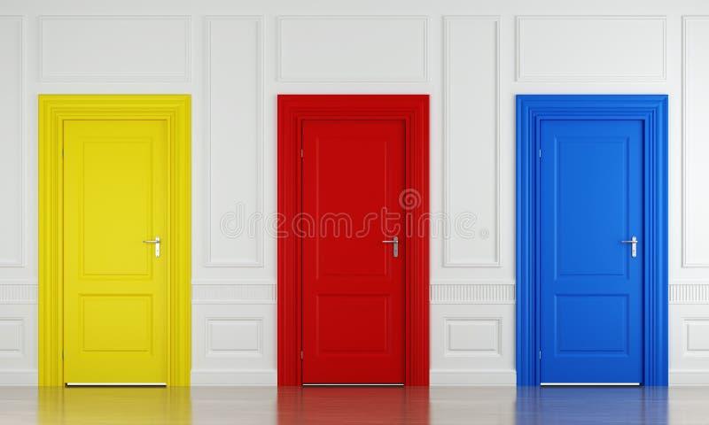 Três portas da cor ilustração royalty free
