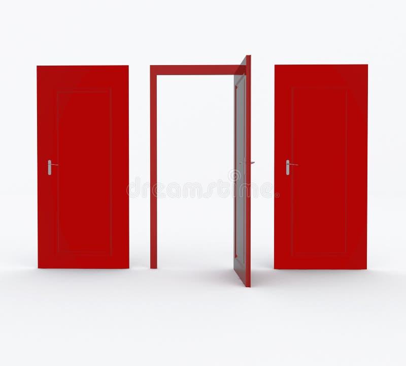 Três portas vermelhas ilustração royalty free