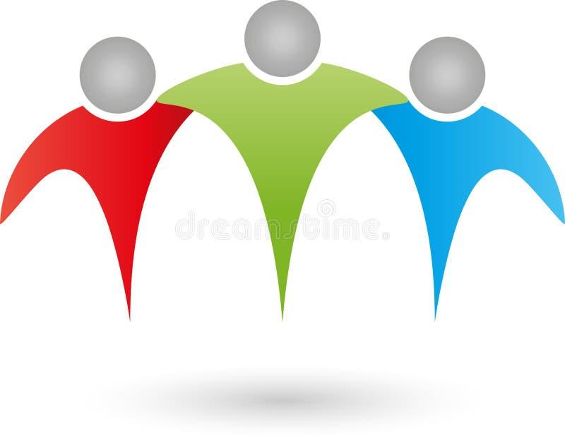 Três povos, equipe, família, grupo, logotipo dos amigos ilustração royalty free