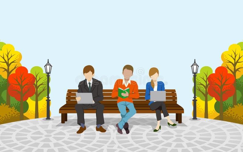 Três povos que sentam-se no banco, outono park-EPS10 ilustração do vetor