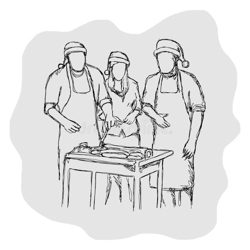 Três povos que têm o acampamento e ter a festa de Natal do BBQ excedem ilustração do vetor