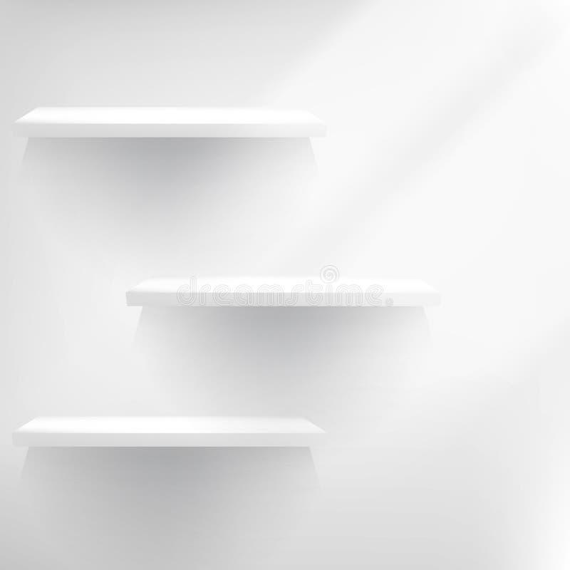 Três prateleiras vazias brancas. ilustração royalty free