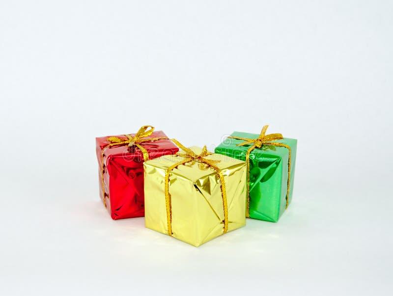 Três presentes do Natal imagem de stock
