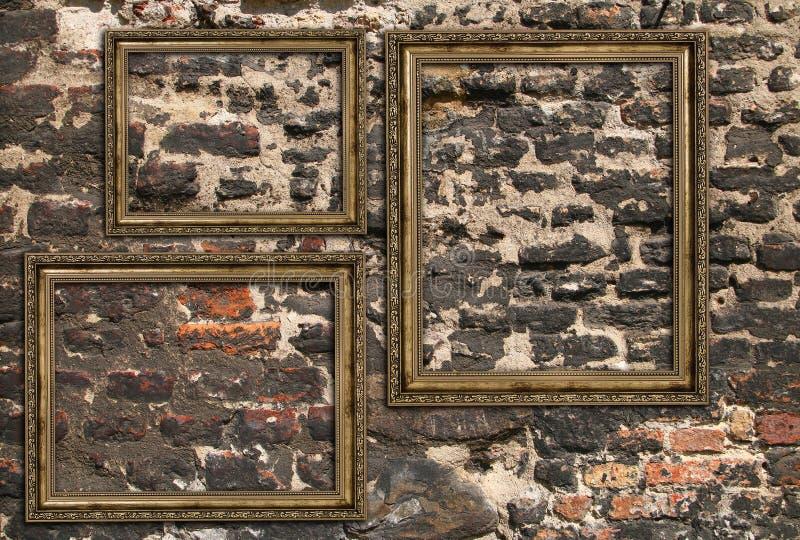 Três quadros de madeira fotografia de stock royalty free