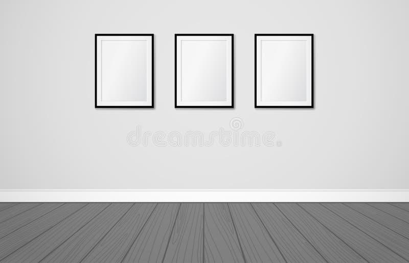 Três quadros em uma parede Zombaria do vetor acima Design de interiores escandinavo moderno ilustração do vetor