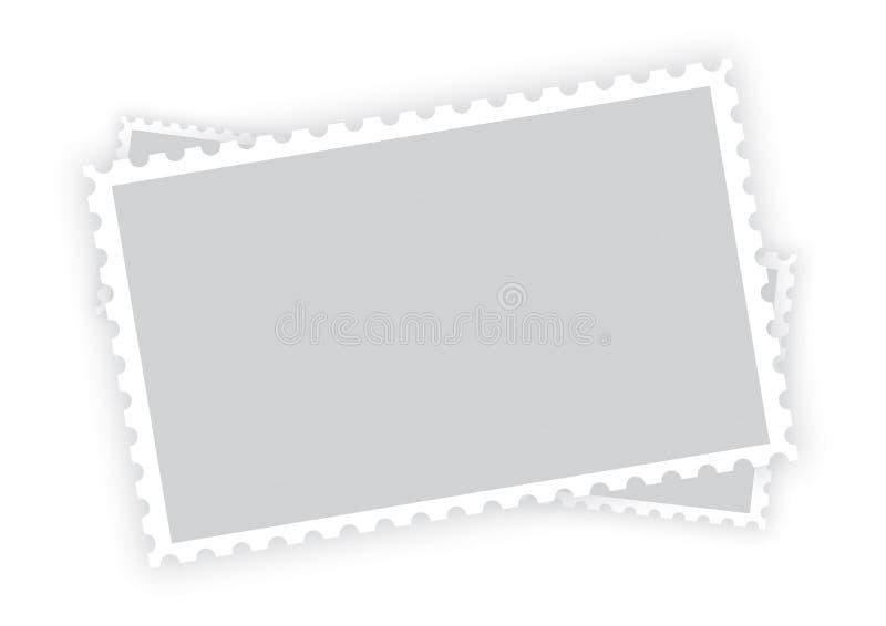 Três quadros vazios velhos do selo do papel do porte postal ilustração do vetor