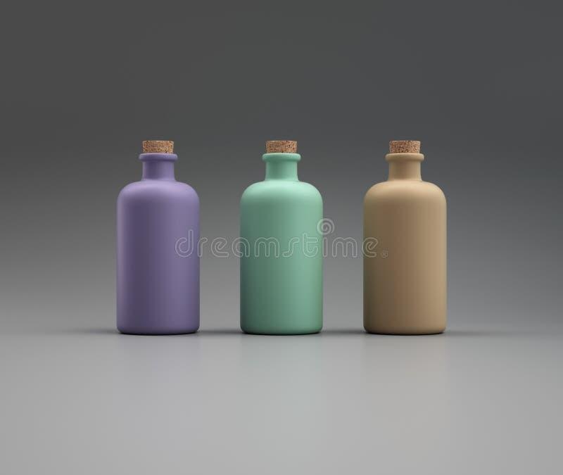 Três recipientes coloridos cilíndricos com um bujão da cortiça ilustração royalty free