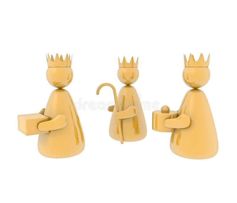 Três reis, isolados ilustração do vetor