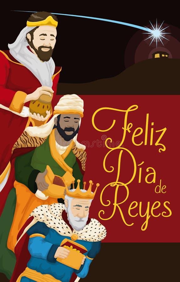 Três Reis Magos que seguem na estrela do ` s de Bethlehem ao comedoiro, ilustração do vetor ilustração stock