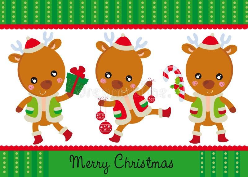 Três renas felizes ilustração royalty free