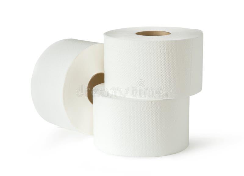 Três rolos do papel higiênico do branco fotos de stock royalty free