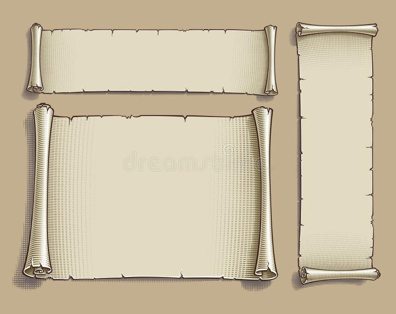 Três rolos gravados dos desenhos animados ilustração stock