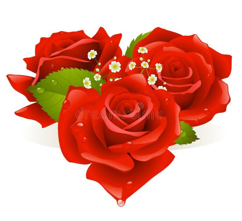 Três rosas na forma do coração ilustração royalty free