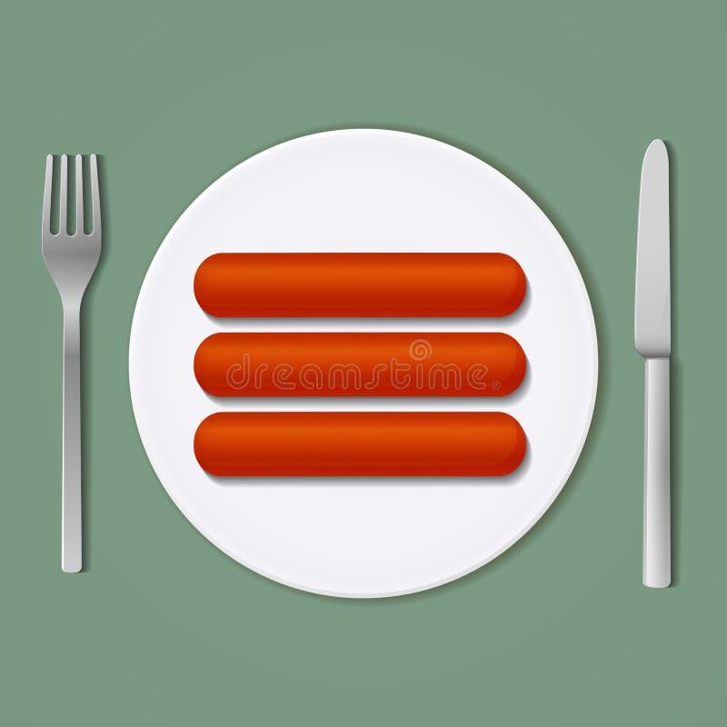 Três salsichas em uma placa branca com forquilha e faca Vista superior ilustração royalty free