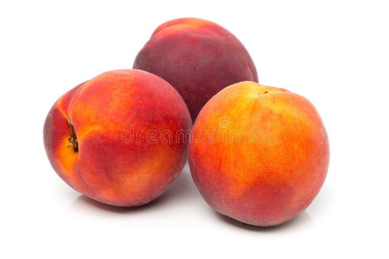 Três sem cortes, fruto inteiro, maduro dos pêssegos foto de stock royalty free