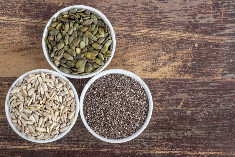 Três sementes diferentes imagem de stock royalty free