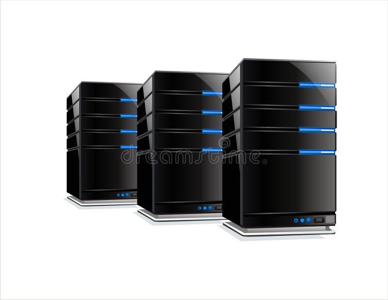Três server pretos do computador ilustração do vetor