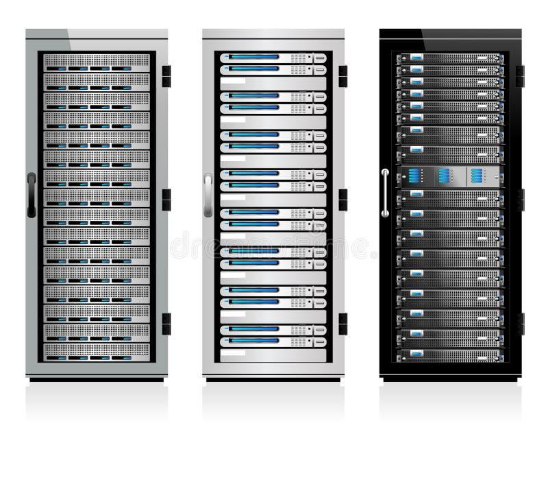 Três servidores - servidor em uns armários ilustração do vetor