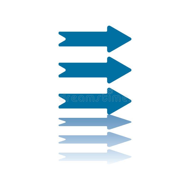 Três setas horizontais endireitam ilustração stock