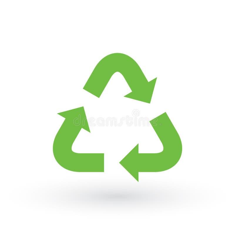 Três setas verdes com o eco recicla o ícone Sinal de Eco isolado no fundo branco Ilustração da reutilização do vetor Símbolo liso ilustração do vetor