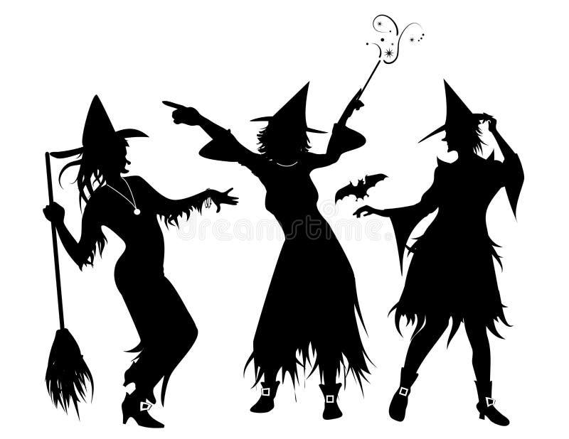 Três silhuetas da bruxa ilustração royalty free