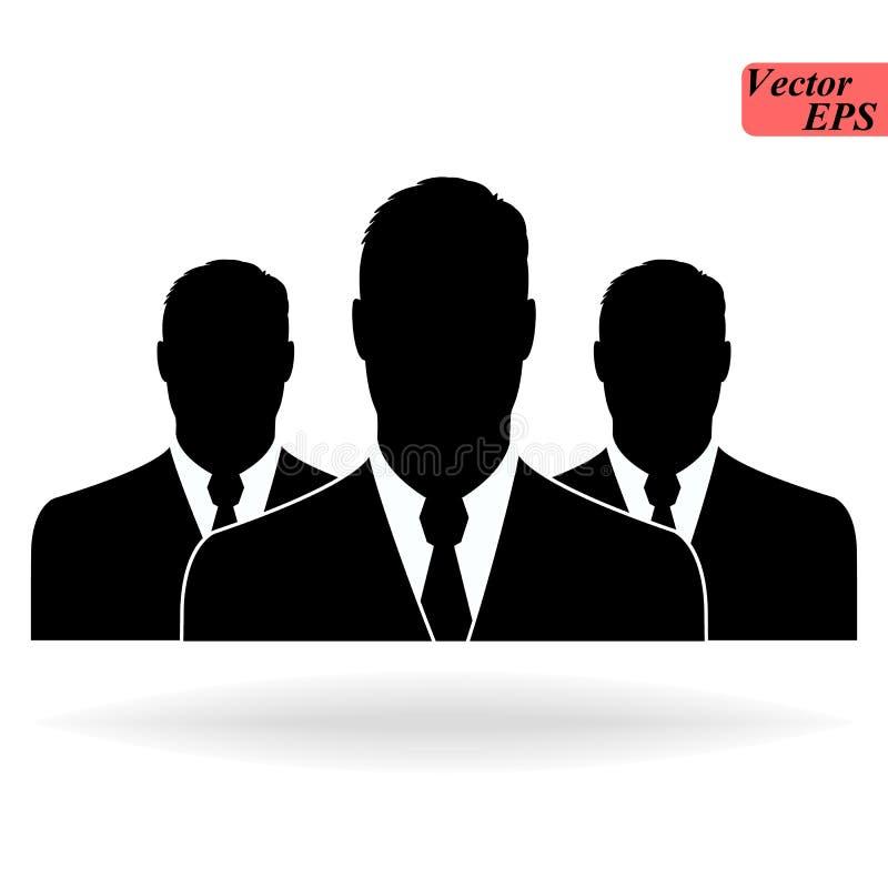 Três silhuetas do homem de negócios no fundo branco - vector o ícone EPS10 ilustração do vetor