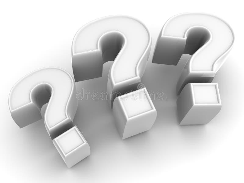 Três sinais em uma pergunta ilustração stock