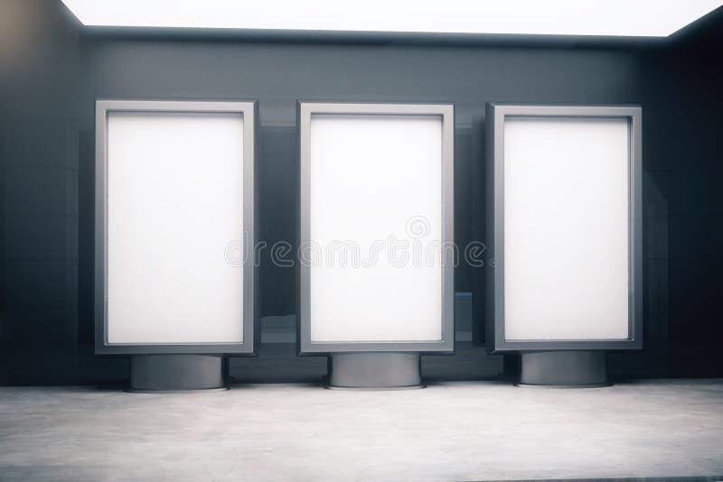 Três suportes vazios do anúncio ilustração stock
