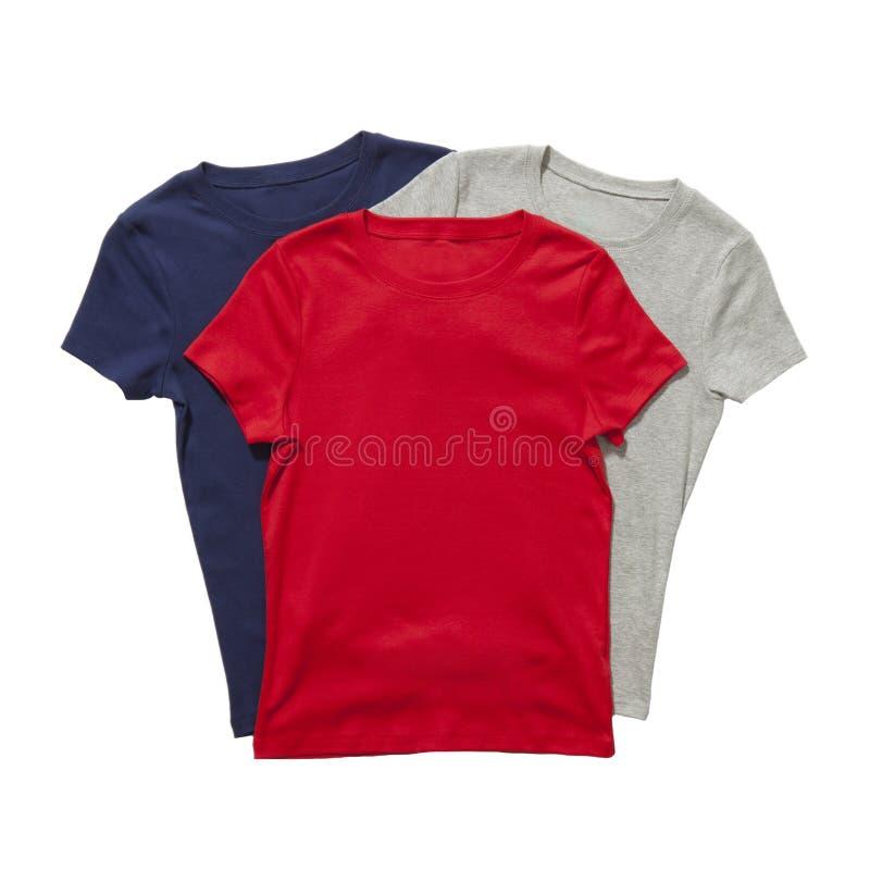 Três t-shirt isolados imagem de stock