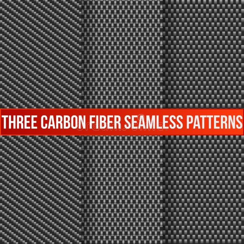 Três testes padrões sem emenda do carbono ilustração royalty free