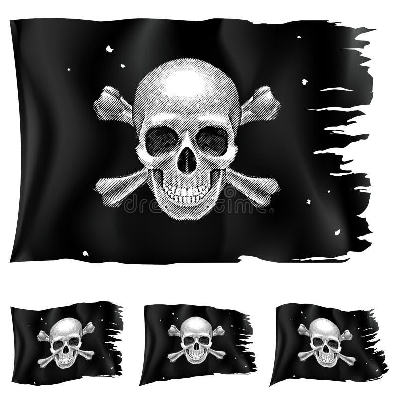Três tipos de bandeira de pirata ilustração do vetor