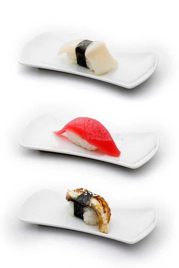 Três tipos de sushi: scallop, atum e enguia fotos de stock royalty free