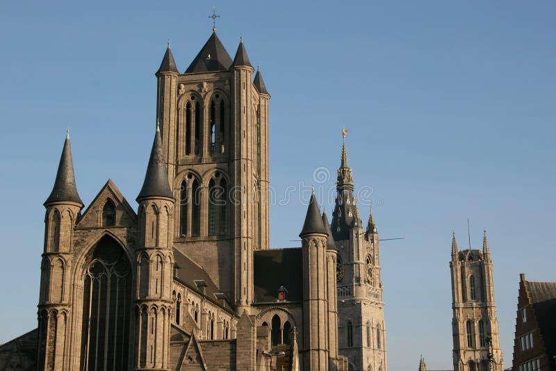 Três torres no Gent, Bélgica imagens de stock royalty free