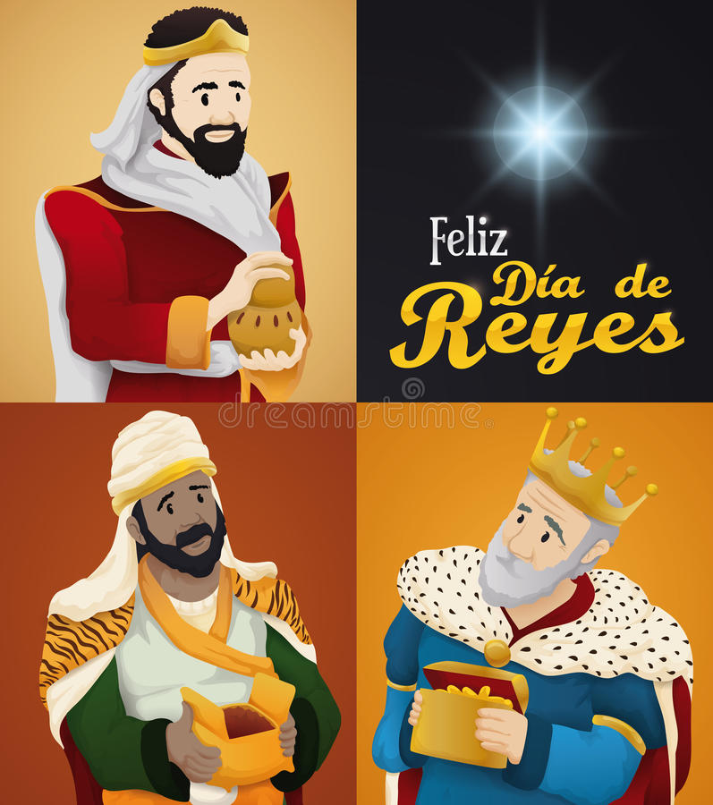 Três três Reis Magos e estrelas para o ` de Dia de Reyes do ` ou o esmagamento, ilustração do vetor ilustração do vetor