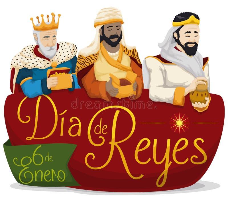 Três três Reis Magos sobre o sinal para o ` de Dia de Reyes do ` ou o esmagamento, ilustração do vetor ilustração royalty free